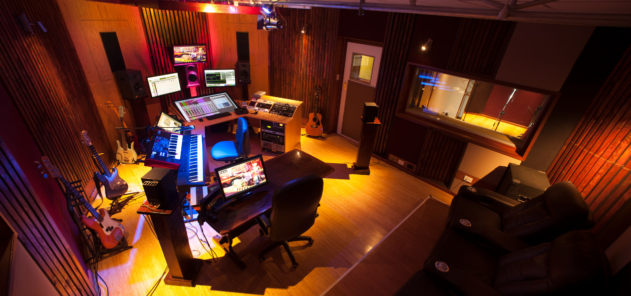 Film Sonic - audio post production studio, control room top view 1